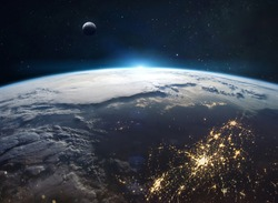 View on planet Earth from space. Cities lights and continents. Civilization on planet. Moon on background. Elements of this image furnished by NASA