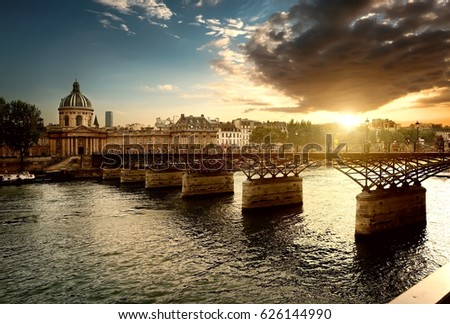 View on Pont des Arts and Institut de France in Paris at sunset #626144990