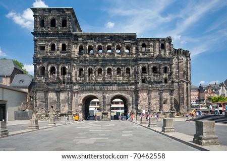view on Porta Nigra (antique Roman gate) in Trier, Germany