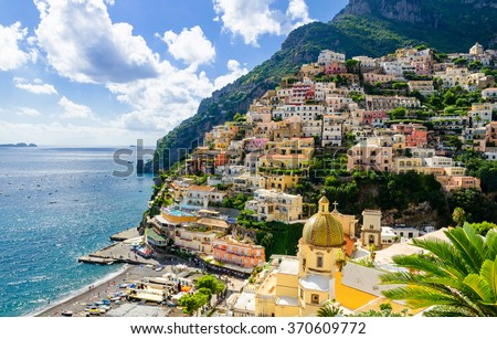 view on Positano on Amalfi coast, Campania, Italy