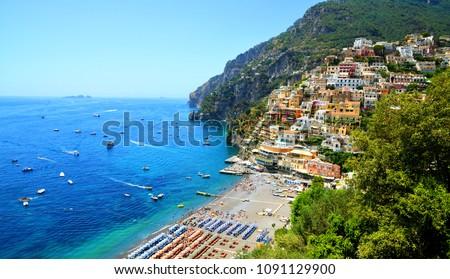 View on Positano on Amalfi coast, Campania region, Italy