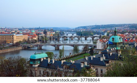 View on Prague Bridges at evening, 2009