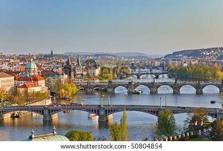 View on Prague Bridges at sunset - stock photo