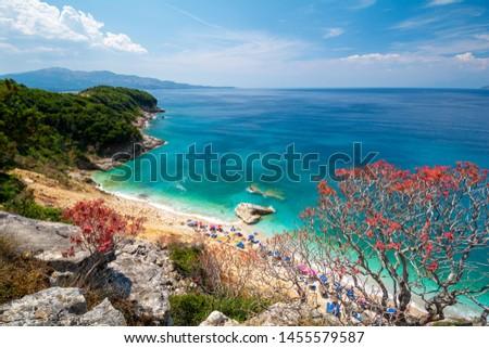 view on Pulebardha Beach between Ksamil and Saranda in Albania