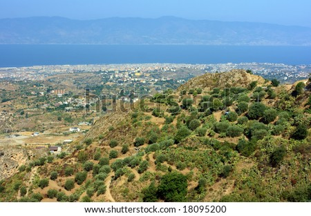 View on Reggio Calabria against Messina strait from Aspromonte with typical olive-trees