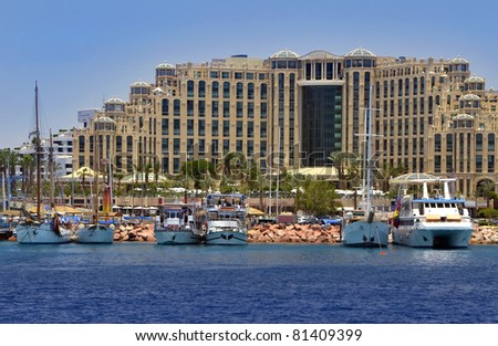 View on resort hotels from a boat near northern beach of Eilat, Israel