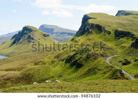 View on rock formations of the Quiraing, Isle of Skye, Scotland