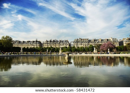 View on Rue Rivoli from Tuileries, Paris, France