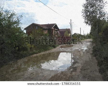 View on rural street Sheinovo near Smolensk after the rain in a the style of oil painting