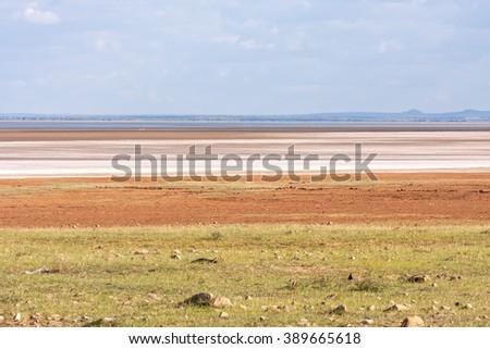 View on savanna plain before mountains against cloudy sky background. Lake Manyara National Park, Tanzania, Africa.