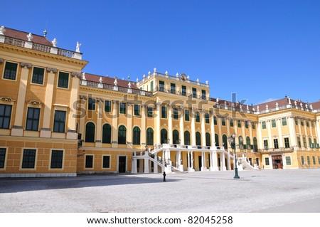 View on Schonbrunn Palace facade in Vienna, Austria