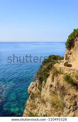 View on sea and walkway at Costa Brava