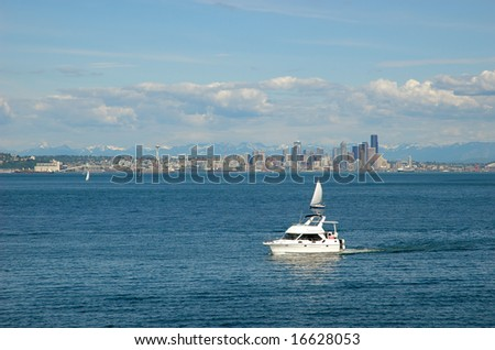 View on Seattle downtown from Puget Sound