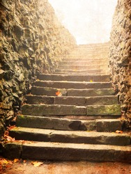 View on stairs in ages medieval castle in a fog