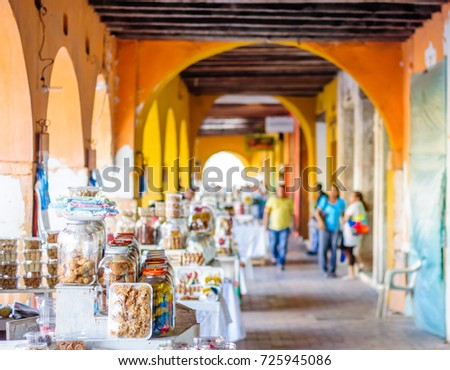 Shutterstock View on sweet market by Portal de Los Dulces in Cartagena - Colombia