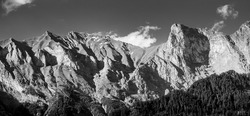 View on Swiss mountain range from Maienfeld. Black and white photography.