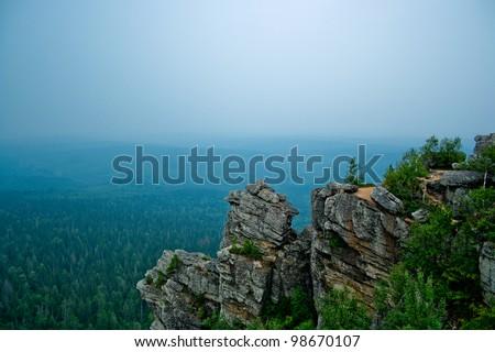 View on taiga from Poliud mountain. Perm Krai. Russia.