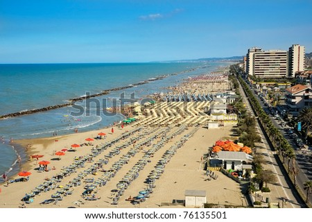 View on the Adriatic coastline with the beaches in the Montesilvano Pescara, Abruzzo region, Italy