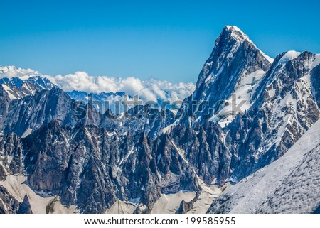 View on the Alps from the Aiguille du Midi , Chamonix.