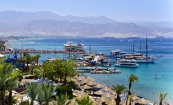 View on the Aqaba gulf from the northern beach of Eilat city, Israel