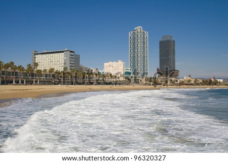 View on the Barceloneta beach, Barcelona, Catalonia.