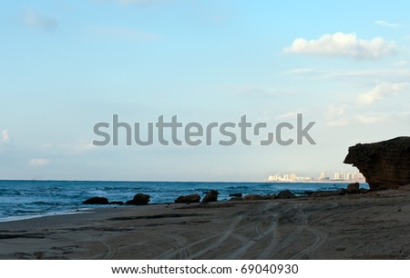 View on the beach of Rishon Lezion . Israel .