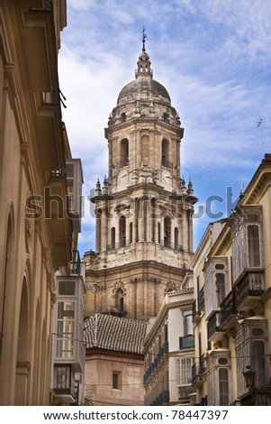 View on the belfry of the Malaga's cathedral