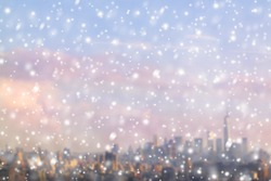 View on the blurred skyline of Manhattan in the snowfall. New York city. Winter concept.