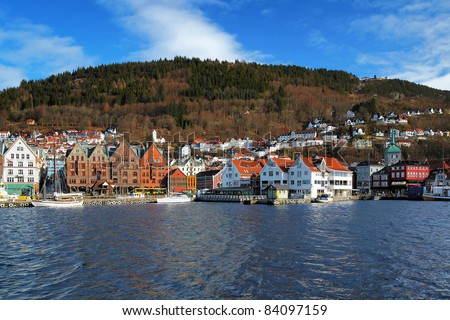 View on the Bryggen, oldest part of Bergen, and Mount Floyen, Norway
