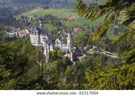 View on the castle of Neuschwanstein and its bavarian landscape.