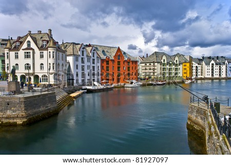 View on the center city of Alesund, Norway