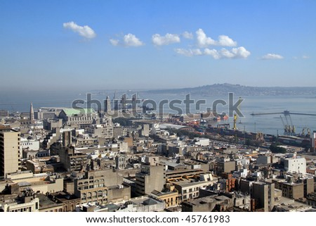 View on the city and harbour of Montevideo, capital of Uruguay