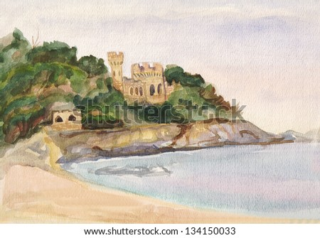 View on the city of Lorret-de-mar and an old fortress from the sea on the city of Lorret-de-mar and an old fortress from the sea