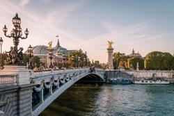 view on the famous landmark Alexander iii bridge in Paris, capital of France