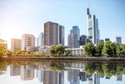 View on the financial district with Main river in Frankfurt city, Germany