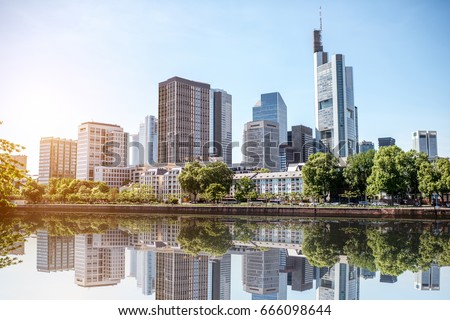 View on the financial district with Main river in Frankfurt city, Germany Stockfoto ©