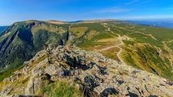 View on the Giant Valley (Obri dul), the Well Mountain (Studnicni hora), the Plain under the Sniezka, Lomniczka Cwm. Giants Mountains ridge (Karkonosze). Polish - Czech border.