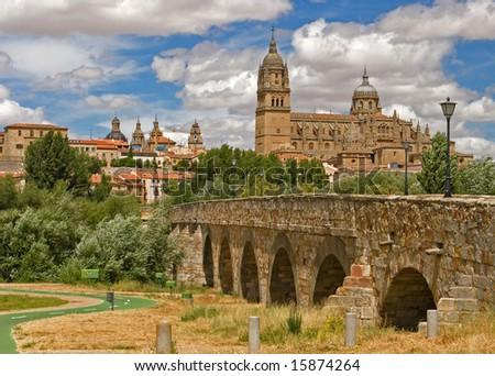 View on the historical city of Salamanca, Spain - stock photo