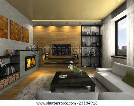 View on the modern apartment with fireplace 3D. Photo in the magazine was made by me, I uploaded model's release #23184916