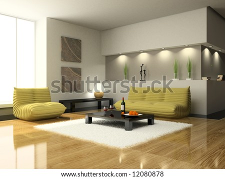 View on the modern living-room - stock photo