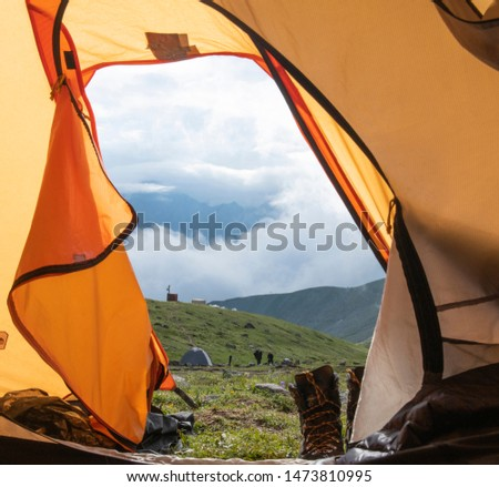 View on the mountains from the tent #1473810995