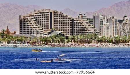 View on the northern beach of Eilat city - famous resort city in Israel