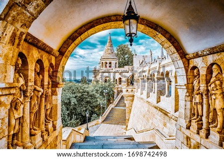 View on the Old Fisherman Bastion in Budapest. Arch Gallery. Stock photo ©