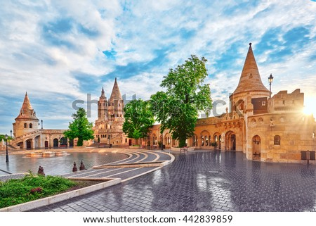 View on the Old Fishermen Bastion in Budapest at morning time. Hungary. Stock photo ©