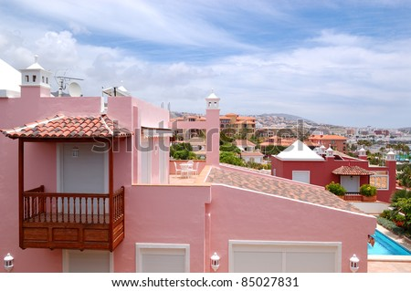 View on the pink villa, Tenerife island, Spain