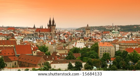 view on the Prague, Czech Republic. - stock photo