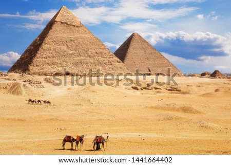 View on the Pyramid of Khafre and the Pyramid of Khufu, desert of Giza, Egypt