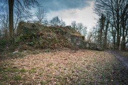 View on the remains of a ruined medieval castle on a winter day.