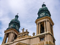 View on the Saint Stephen Church Szent Istvan Vertanu templom in Papa, Hungary on a sunny day.