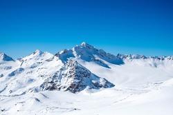 View on the snowy peaks